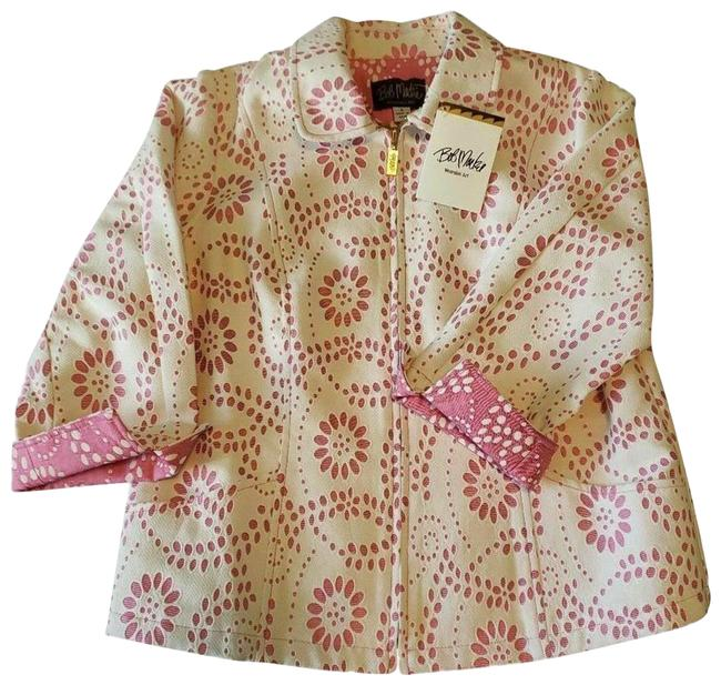 Item - Pink Embroidered Floral Daisy Scroll Cut Out Coat Jacket Size 4 (S)