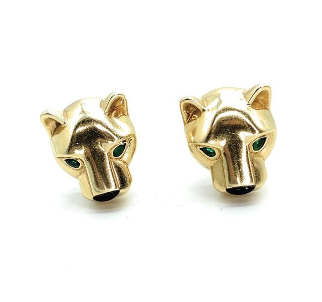 Item - Yellow Gold Panthere Heads Pierced Earrings