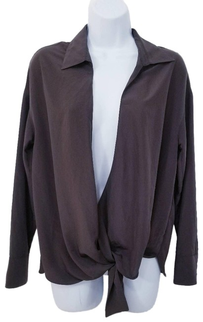 Item - Brown Long Sleeves Tie Front Blouse Size 4 (S)