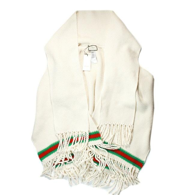 Item - Off-white / Ivory Red Green New: Stripe Fringe Wrap Us Small Poncho/Cape Size 0 (XS)
