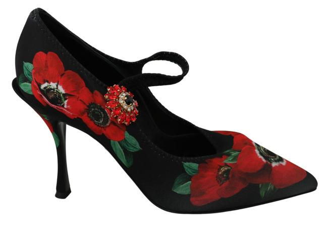 Item - Black Red Floral Mary Dolce & Gabba. Pumps Size US 7.5 Regular (M, B)