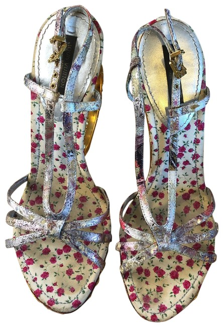 Item - Multi Color with Gold Heels Limited Addition Lame Wedge Sandals Size US 9 Regular (M, B)