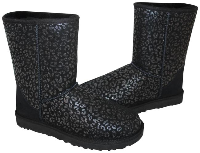 Item - Black Silver Classic Short Suede Shearling Snow Leopard Boots/Booties Size US 7 Regular (M, B)