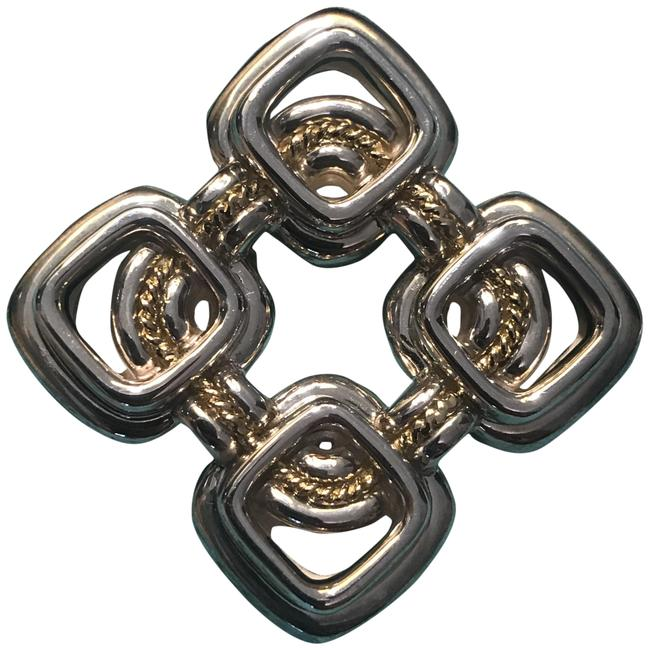Item - Silver and Gold Vintage Co Sterling 18kt Rope Brooch Pin