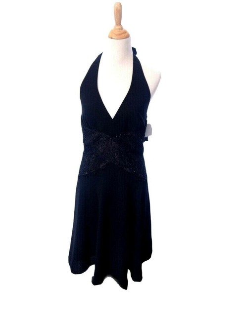 Item - Black Glamour Nights Lace Beaded Halter Party Evening Date Night Wedding Mid-length Cocktail Dress Size 12 (L)