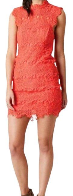 Item - Pink Orange Daydream Lace Bodycon Short Night Out Dress Size 8 (M)