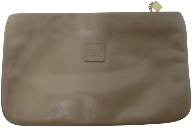Item - Vintage Large Purse Taupe Leather Clutch
