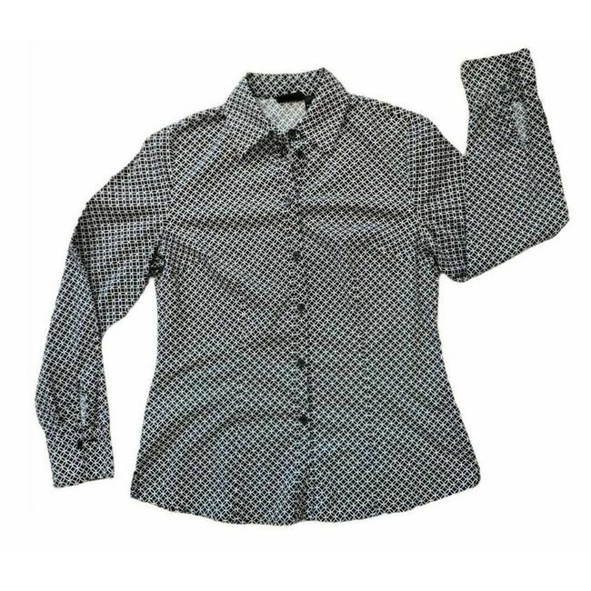 Item - Black Long Sleeve Fitted Geometric Blouse Button-down Top Size 8 (M)