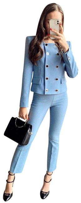 Item - Blue Cropped Double Breasted Blazer Size 8 (M)