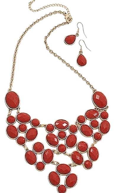 Red Cabochon Bib Style Statement and Earrings Set Necklace Image 1
