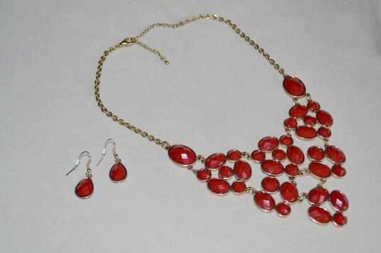 Other Red Cabochon Bib Style Statement Necklace and Earrings Set