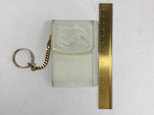 Chanel Chanel White Caviar Keychain Pouch
