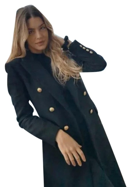 Item - Black Woman New with Gold Buttons Wool Blend Coat Size 4 (S)