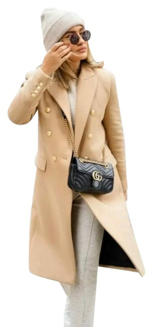 Item - Camel Double Breasted Buttoned Wool Blend Light Coat Size 4 (S)