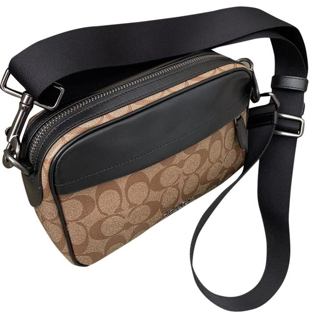 Item - Brown and Black Leather Cross Body Bag