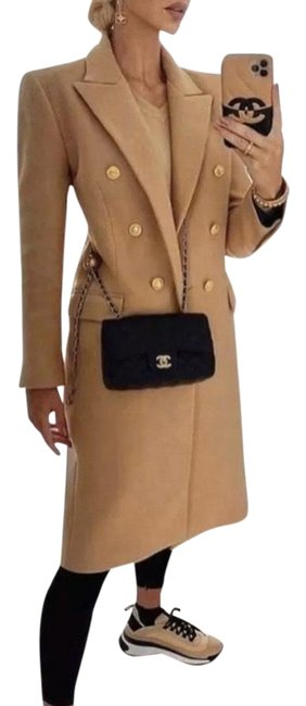 Item - Camel Double Breasted Buttoned Wool Blend Light Coat Size 12 (L)