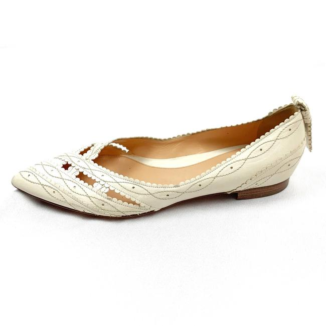 Item - Cream Pointed Toe Leather Flats Size EU 40 (Approx. US 10) Regular (M, B)