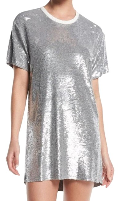 Item - Silver Nabara Sequin Crew Neck Short Night Out Dress Size 8 (M)