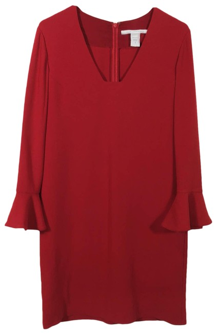 Item - Red Trumpet Sleeve Mid-length Work/Office Dress Size 8 (M)