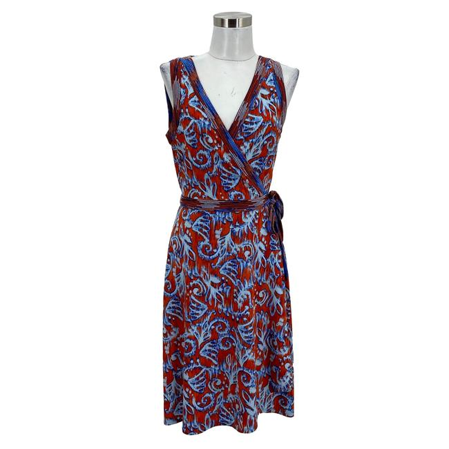 Item - Blue N223 Designer Small 6 Paisley Wrap Sleeveles Mid-length Formal Dress Size 4 (S)