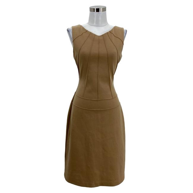 Item - Brown N1556 Designer Small Sheath Sleeveless Mid-length Formal Dress Size 6 (S)