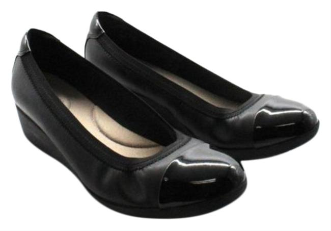 Item - Black Elin Palm Leather/Synthetic Patent Flats Size US 10 Regular (M, B)