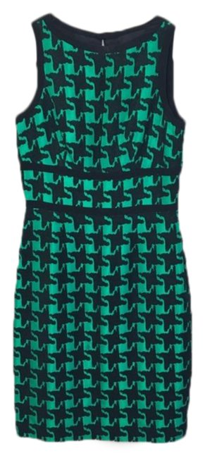 Item - Black Green Houndstooth Sheath Mid-length Work/Office Dress Size 6 (S)