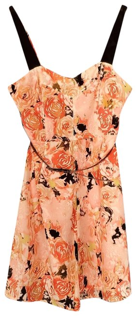 Item - Pink Floral Cocktail 7 Short Casual Dress Size 6 (S)
