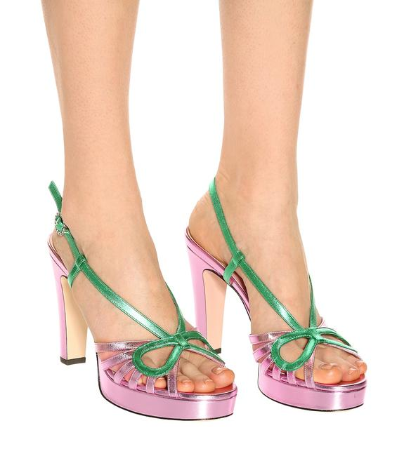 Item - Pink Green Metallic Leather Crossed Bow Sandals Platforms Size EU 40.5 (Approx. US 10.5) Regular (M, B)