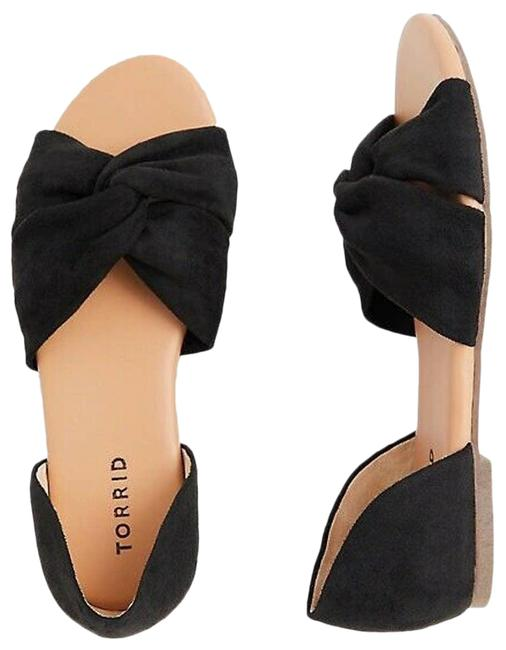 Item - Black Twist Faux Suede Front D'orsay Flat Open Toe 8w Sandals Size US 8 Wide (C, D)