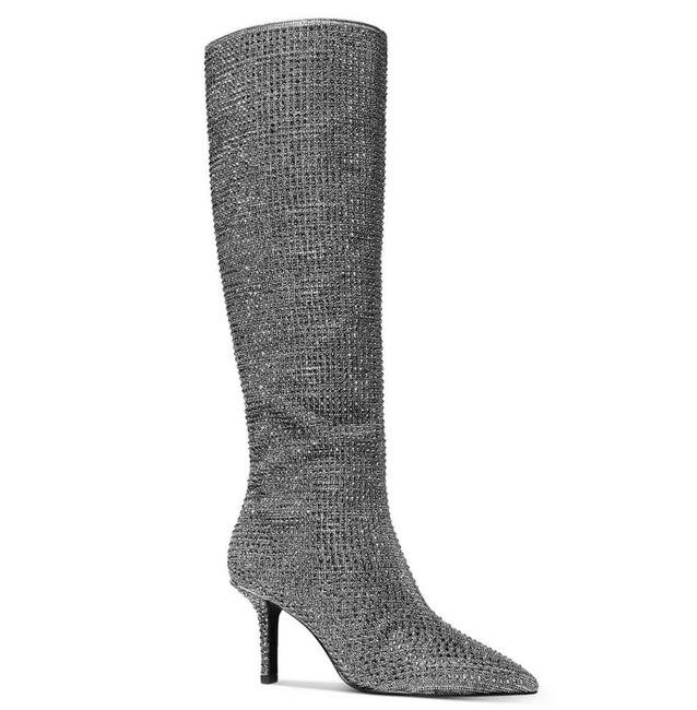 Item - Silver Katerina Crystal Rhinestone Embellished Knee High Sparkles Boots/Booties Size US 6.5 Regular (M, B)