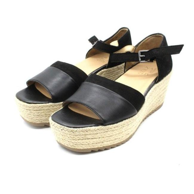 Naturalizer Womens Nella Black Leather Wedges Sandals 6