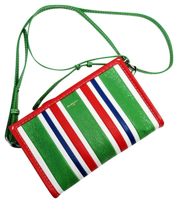 Item - Pochette Bazaar Blue / Green / Red Color / White Leather Clutch