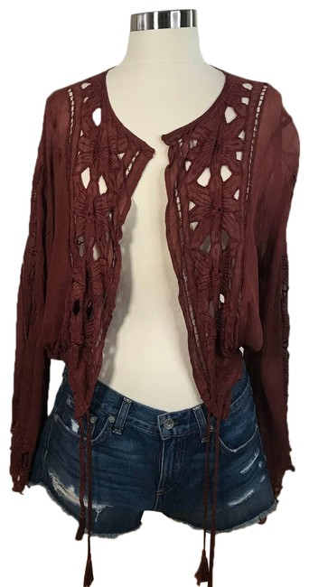 Item - Red * Floral Lace Tie Front Rust Cardigan Size 4 (S)