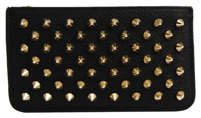 Item - Black Unisex Leather Studded Coin Purse/Coin Case Wallet