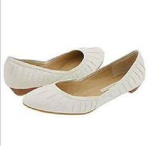 Chinese Laundry Dionne Pleated Leather White Flats