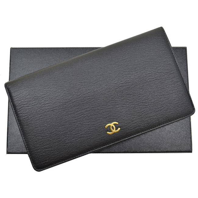 Item - Black / Gold Coco Mark Leather Bi-fold Ladies Wallet
