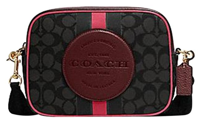 Coach Camera 1912 Women Dempsey In Signature Jacquard with Stripe Black Wine Multi Pvc Messenger Bag Coach Camera 1912 Women Dempsey In Signature Jacquard with Stripe Black Wine Multi Pvc Messenger Bag Image 1