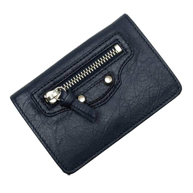 Item - Navy Tri-fold Silver Leather Wallet