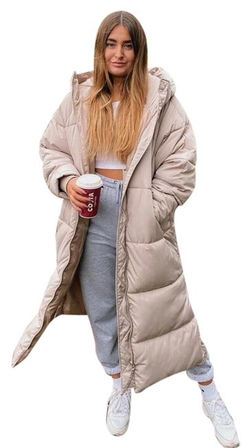Item - Taupe Grey Long Puffer Coat Size 8 (M)