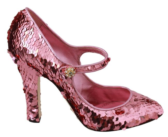Item - Pink Sequined Crystal Mary Jane Heels & G Pumps Size US 10.5 Narrow (Aa, N)