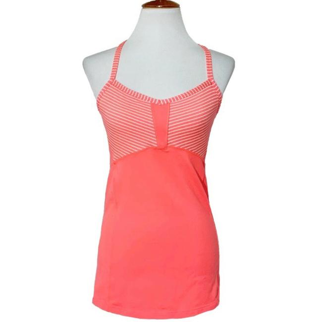 Item - Coral Orange White Strappy Neon Activewear Top Size 10 (M)