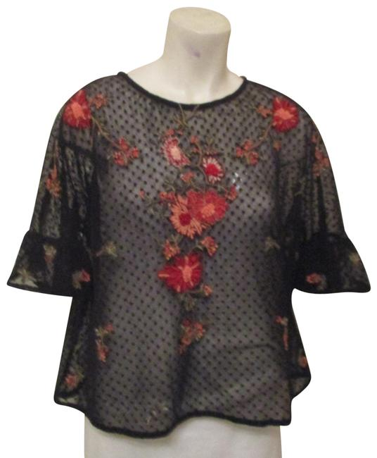 Item - Black Multi Embroidered Sheer Mesh Night Out Tunic Size 8 (M)