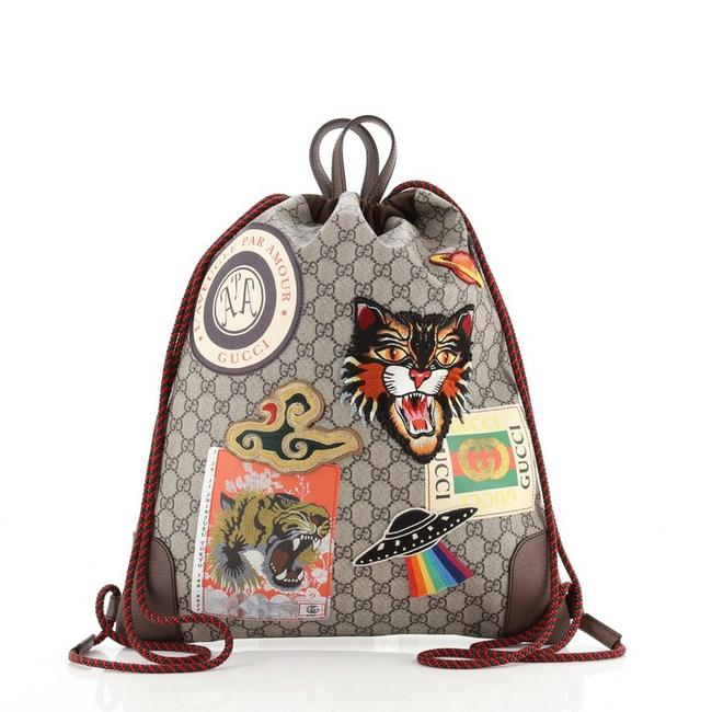 Item - Drawstring Courrier Soft Gg Coated with Applique Mediu Multi Color Canvas Backpack