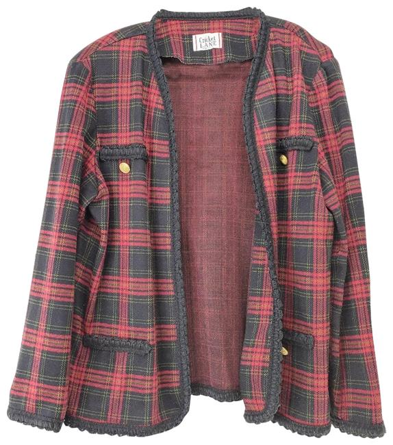 Item - Red Plaid Made In The Usa Jacket Blazer Size 14 (L)