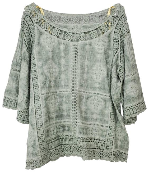 Item - Green Boho Lace Wide Sleeve Blouse Size 6 (S)