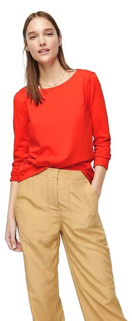 Item - Red Long Sleeve Tie Back T-shirt In Mariner Cloth Large Tee Shirt Size 12 (L)