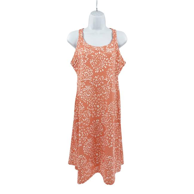 Item - Orange Omni-freeze Racerback Floral Coral Medium Short Casual Dress Size 8 (M)