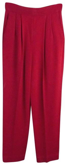Item - Red Santana Knit Elastic Waist Cropped Pleated Pants Size 2 (XS, 26)