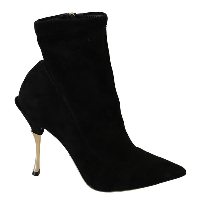 Item - Black Suede Gold Heels Ankle Boots/Booties Size US 10.5 Narrow (Aa, N)